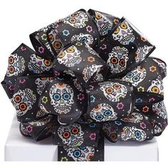 Black Day of The Dead Ribbon Yards) Pink Black, Blue Orange, Wreath Forms, Day Of The Dead, Outdoor Projects, Heat Press, Sale Items, Decorating Your Home, Yards