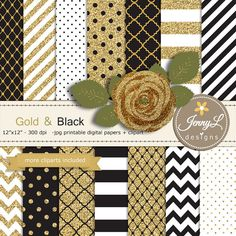 Gold and Black Digital Paper Glitter Rose by JennyLDesignsShop