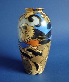A lovely Bursley Ware Amstel vase designed by Frederick Rhead for Wood and Sons Hand painted in tones of tan olive and blue with a bird sitting Vase, Art Deco Design, Pottery Art, Art Nouveau, Enamel, Hand Painted, Shapes, Ceramics, Bird