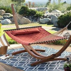 Unwind Quilted Hammock with Russian Pine Stand - If you're work week's got you wound up, try out the Island Bay 13 ft. Unwind Quilted Hammock with Russian Pine Stand . This beautiful set. Outdoor Hammock Bed, Backyard Hammock, Hammock Swing, Hammock Chair, Hammock With Stand, Patio Hammock Ideas, Desert Backyard, Outdoor Balcony, Backyard Patio