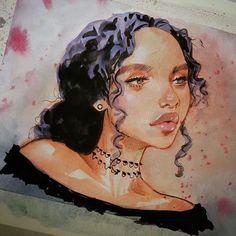 WEBSTA @ melmadedooks - #watercolor #watercolorportrait #portraitsketch #portrait #curlyhair #dook this afternoon..keep in keepin on!