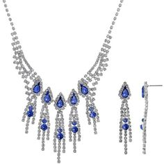 Crystal Allure Fringe Necklace and Linear Drop Earring Set ($72) ❤ liked on Polyvore featuring jewelry, earrings, blue, fringe earrings, fake earrings, blue jewelry, clasp earrings and post back earrings