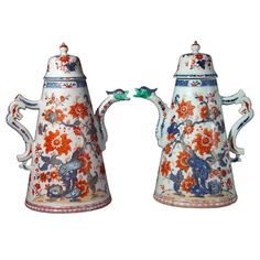 A Massive Pair of Chinese Lighthouse Imari Coffee Pots  China  Circa 1725.  <3 Japanese Porcelain