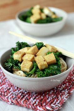 Udon Noodles with Creamy Tahini Sauce, Roasted Kale & Tofu : Zizi's Adventures – Real Food, Real Stories