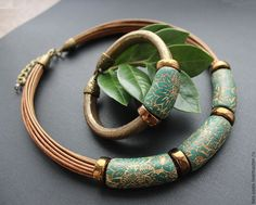 """Bronze Flower"" Polymer Clay Necklace."