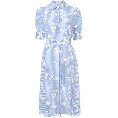 Altuzarra belted shirt dress (1.403.535 CLP) ❤ liked on Polyvore featuring dresses, blue, long shirt dress, altuzarra dress, blue silk dress, silk shirt dress and altuzarra