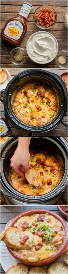 Slow Cooker Bacon Barbecue Chicken Dip served with garlic bread. /sbrbbq/ (slow cooker recipes with chicken) Crock Pot Recipes, Slow Cooker Recipes, Cooking Recipes, Slow Cooker Appetizers, Crock Pots, Slow Cooker Bacon, Crock Pot Slow Cooker, Crock Pot Cooking, Chicken Bacon