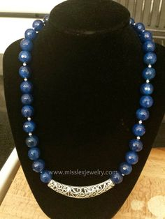 Blue Gemstone Necklace by MissLexJewelry on Etsy, $35.00