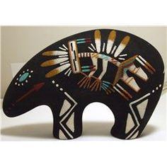 Navajo Sand Painting Kachina on Bear Pottery - Eva Betone /70-150