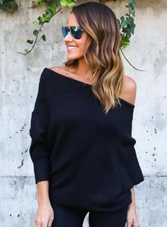 off Shoulder Batwing Sleeve Knitting Sweaters AZBRO.com