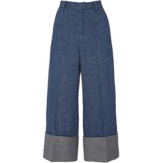 Sea Wool Denim Cuffed Pants (2,320 CNY) ❤ liked on Polyvore featuring pants, capris, wide leg denim trousers, high waisted trousers, wide-leg pants, denim trousers and cuffed pants