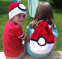 Ravelry: Pokemon Pokeball Hat and Backpack pattern by Shannon Rivet Crochet For Kids, Crochet Yarn, Crochet Toys, Crochet Backpack, Backpack Pattern, Pokemon Crochet Pattern, Mochila Crochet, Crochet Patterns For Beginners, Crochet Purses