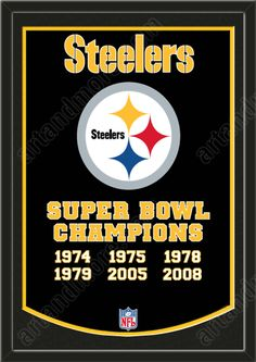 Pay homage to the success of your favorite team with this NFL Pittsburgh Steelers Super Bowl XLV Dynasty Banner. Crafted from a wool blend, this banner is the perfect addition to any sports room or sports memorabilia collection. Pittsburgh Steelers Football, Pittsburgh Sports, Football Team, Football Things, Football Baby, Pittsburgh Pirates, Baseball, Here We Go Steelers, Steelers Stuff