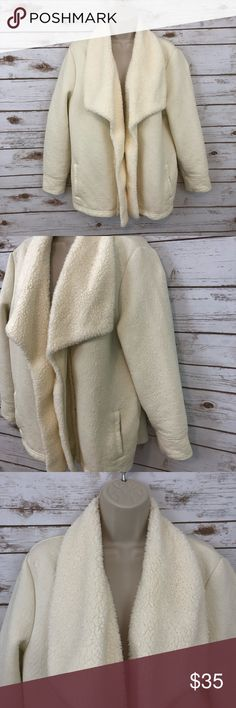 "LL BEAN Sherpa Trim Cardigan Size Large Petite Great, gently used condition/Worn twice No flaws to note Sherpa Trim Textured, quilt-like body Color: Ivory/Off White family  Soft & Warm!  Measurements laying flat approximately (NOT EXACT!)  Chest- 23"" across   Length- 25.5"" shoulder seam to bottom hem    The pictures shown and description given are of the exact item you will receive.   Please review all photos.    Thanks for looking! L.L. Bean Sweaters Cardigans"