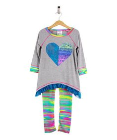 Another great find on #zulily! Turquoise Heart Tunic & Neon Leggings - Girls #zulilyfinds