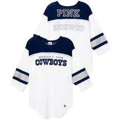 PINK Dallas Cowboys Long Sleeve Boyfriend Tee ($50) ❤ liked on Polyvore featuring tops, t-shirts, blue, crew neck long sleeve t shirt, white t shirt, graphic t shirts, white tee and oversized graphic tee