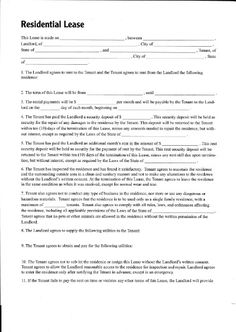 Printable Sample Residential Lease Form