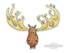Children's Art Moose 5x7 Woodland by BrickHouseStudio on Etsy