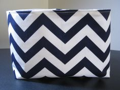 Made to Order  Fabric Storage Bin Basket Organizer Container / Navy and White Chevron on Etsy, $13.00