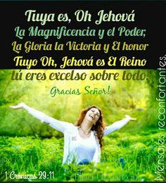 11 Tuya es, oh Jehová, la magnificencia y el poder, la gloria, la victoria y el honor; porque todas las cosas que están en los cielos y en la tierra son tuyas. Tuyo, oh Jehová, es el reino, y tú eres excelso sobre todos. 12 Las riquezas y la gloria proceden de ti, y tú dominas sobre todo; en tu mano está la fuerza y el poder, y en tu mano el hacer grande y el dar poder a todos. 1 Crónicas 29:11-12 Y por la eternidad Padre Amado!