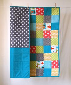 BABY QUILT Modern Colorful Animals Baby Quilt, via Two Corner Quilts on Etsy.