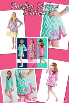 A personal favorite from my Etsy shop https://www.etsy.com/listing/232769153/monogrammed-tunic-pink-aztec-mint-ikat