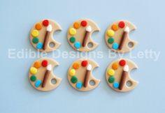 12 Edible Fondant Artist Palette Cupcake by EdibleDesignsByLetty