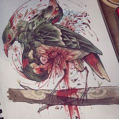 Sketches & Coffee 27-Vol.10,  The woodpecker finally turned mad from his daily chore. (This turned out a bit more grose then I intended)    #dailychores   #horror #grose #Woodpecker #bird #selfdestruction #skills #madness #illustration #drawing #artwork #bird #thebranch #seppuku
