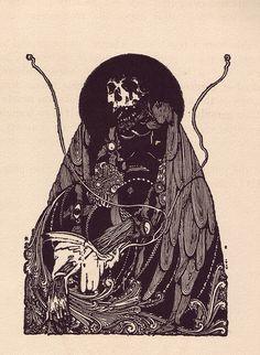 "marcusfark: "" Harry Clarke - illustration for ""Tales of Mystery and Imagination"" by Edgar Allan Poe - 1919 "" Harry Clarke, Long John Silver, Gravure Illustration, Illustration Art, Aubrey Beardsley, Arte Tribal, Drawn Art, Irish Art, Alphonse Mucha"