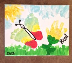 Foot print butterfly, handprint flower, toes as grass, heel as clouds, fingers as sun! First birthday present I did for his momma!