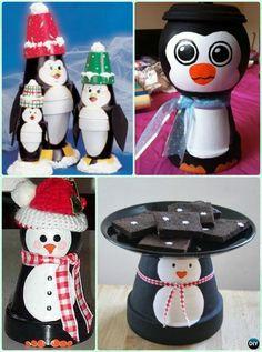 DIY Clay Pot Penguin Instruction - DIY Terra Cotta Clay Pot Christmas Craft Ideas