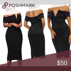 🆕🆕Black off shoulder dress 🆕🆕🆕❗️❗️off-the-shoulder neckline with V cut, padded bust and flattering midi silhouette in a curve-hugging fit, back slit for convenient wear. NWOT🔺⚫️⚫️BLACK S(4-6) M(8-10) L(12-14). 95% polyester 5% Spandex. Dresses Midi
