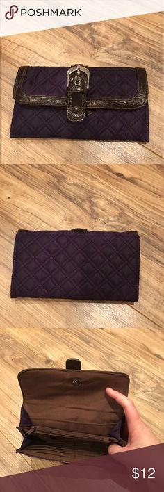 Great looking wallet with bucket Purple and brown with a belt Buckle my style front Snaps closed Credit hard holder and change pouch inside Like new condition  Great looking wallet ! Bags Wallets