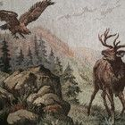 Kaunis vanha gobeliini -- Peurat ja hyökkäävä kotka - Huuto.net
