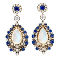 Pair of Antique Moonstone, Sapphire and Diamond Earrings ca. 1880
