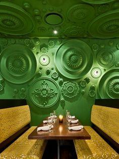 Restaurant, Naples FL Ceiling Roses as wall treatment. Barbatella Restaurant in Naples Florida By Grizform ArchitectsCeiling Roses as wall treatment. Barbatella Restaurant in Naples Florida By Grizform Architects