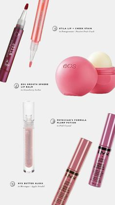Stila lip and cheek stain, Tarte lip tint, Eos lipbalm, which lipstick color is right for me?, how to choose a lip color, lip products, lip ...