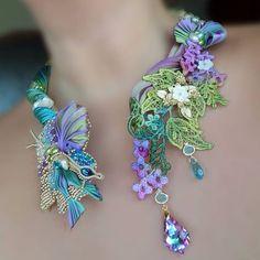 190 Likes, 14 Comments - Serena Di Mercione Jewelry ( o. Ribbon Jewelry, Soutache Jewelry, Jewelry Crafts, Jewelry Art, Beaded Jewelry, Jewelry Design, Jewellery, Embroidery Jewelry, Silk Ribbon Embroidery