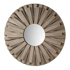 Distinctive round wall mirror with slat design frame and weathered gray finish. Feiss lighting brand was formerly known as Murray Feiss. From the Weathered Discus Collection. Style # at Lamps Plus. Round Wall Mirror, Round Mirrors, Mirror Mirror, Starburst Mirror, Classic Decor, Contemporary Wall Mirrors, Modern Mirrors, Dear Lillie, Discus