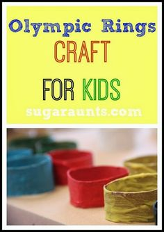 Olympic Rings craft with a fine motor and messy sensory twist. By Sugar Aunts.