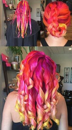 Yellow fuschia pink dip dyed hair color @imallaboutdahair