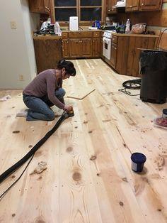How to DIY wide plank pine floors, log cabin home renovation. Plywood Plank Flooring, Pine Wood Flooring, Diy Wood Floors, Farmhouse Flooring, Pine Floors, Diy Flooring, Wood Planks, Kitchen Flooring, Hardwood Floors Wide Plank