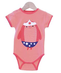"Apricot Bodysuit with ""Wonder Penguin"" print"