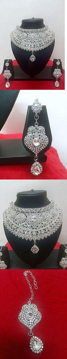 Jewelry Sets 50692: Indian Bollywood Style Fashion Rhodium Plated Bridal Jewelry Necklace Set BUY IT NOW ONLY: $38.99 Bollywood Style, Indian Bollywood, Bollywood Fashion, Marriage Jewellery Set, Jewelry Sets, Jewelry Necklaces, Necklace Set, Bridal Jewelry, Style Fashion