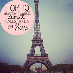 10 MUST do's in Paris!! 1. Picnic along the Seine River 2. Buy a crepe from a street vendor! 3. Eat Croque Monsieur or Madame at a street Cafe. (*Remember: Monsieur = no egg Madame = egg) 4. Go see a concert at St. Chappell. 5. Get falafel in the Jewish Quarter on Falefel Alley. 6. Go shopping on Champs-Élysées. 7. Go eat at Le Relais de l'Entrecôte. 8. Go to the top of Montparnasse Tower! 9. Visit Les Invalides  10. See the eiffel tower at night!!