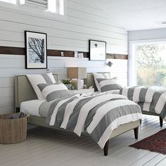 paneling painted colors | ADORE the wood beam in the center, and this bedding from West Elm