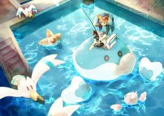 I love Pokemon Fishing art. It makes me feel peaceful and happy. It's actually kinda weird; it sort of makes me feel like I get sucked into the natural beauty of the Pokemon world & our own. I'll stop talking now. Black Pokemon, All Pokemon, Pokemon Fan Art, Cute Pokemon, Pokemon Team, Pokemon Stuff, Pokemon Games, Kalos Gym Leaders, Water Type Pokemon