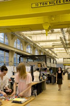 Anthropologie/Urban Outfitters head offices are renovating navy yard buildings from 1868! Incredible yellow ceiling...