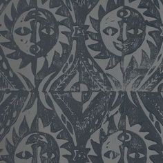 Hand Printed Wallpaper Roll (Suns) (Slate Grey) by Peggy Angus