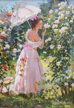 Alexander Averin Figurative Painting - Day Oil On Canvas French Style Post-Impressionist Romantic Paintings, Beautiful Paintings, French Paintings, Victorian Paintings, Victorian Art, Photographie Portrait Inspiration, Impressionist Paintings, Impressionism Art, Classical Art